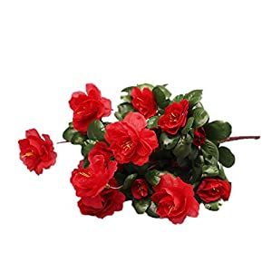 Gokeop 13-Inch Rhododendron Artificial Flower, 7 Heads DIY Fake Flowers for Home Decor Indoor and Wedding, 33cm Retro Style Natural Simulated Flowers for Festivals and Cemetery, Red