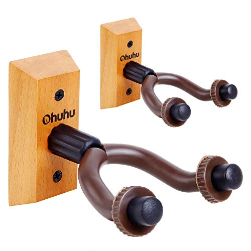 Guitar Wall Mount Hanger 2-Pack, Ohuhu Guitar Hanger Wall Hook Holder Stand for Bass Electric...