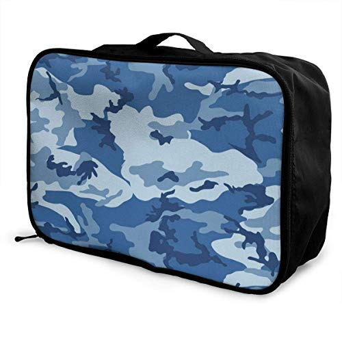 Qurbet Reisetaschen,Reisetasche, Gym Bag Waterproof Fashion Lightweight Large Capacity Portable Duffel Bag for Men & Women (Army Camouflage 3D Print Blue)