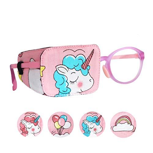 Astropic Cotton & Silk Eye Patch for Kids Glasses (Right Eye, Blue Hair Unicorn)