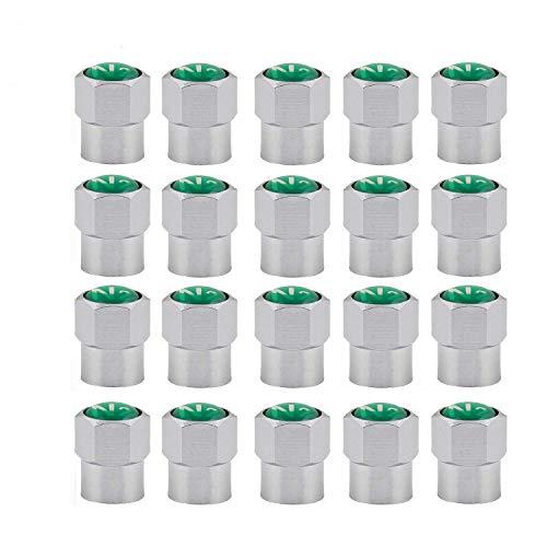 GODESON Paquete de 20 tapas de válvula de neumático de latón cromado con logotipo de nitrógeno N2