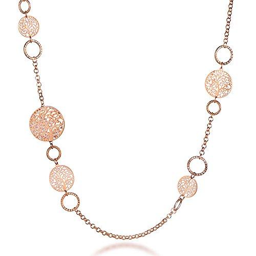 Collana Lunga per Donna, Collana a Catena Albero della Vita per Bambina Collana in Oro Rosa o Argento con Cristallo (Oro Rosa)