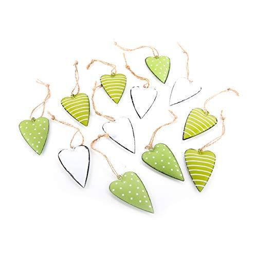 Logbuch-Verlag Lot de 12 petits pendentifs en forme de cœur vert clair à suspendre, en métal, à suspendre, décoration de Pâques, vert mai, pistache