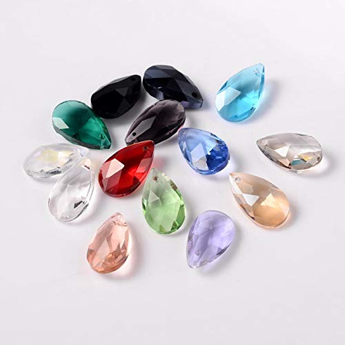 Pandahall 100pcs Faceted Dorp Glass Bead Charms Mixed Color Crystal Teardrop Beads Top Drilled Shape Chandelier Dangle Pendants for Jwewelry Making Home Hanging Decoration Hole: 1mm