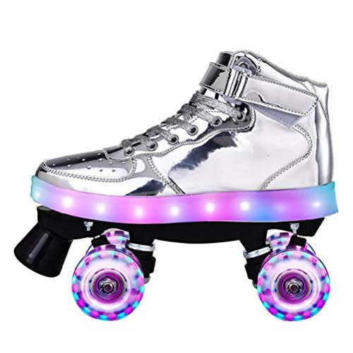 LBWNB Unisex Rollschuhe Leuchtend Roller-Skates Disco-Roller Mit Leuchtenden PU-Rädern Für Anfänger Verstellbar,Flash Silver,41