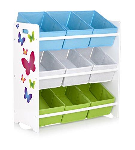 Leomark Regal für Spielzeug - Schmetterlinge - Holzregal mit 9 Schubladen, Aufbewahrungsregal für Kinder, Spielzeugregal mit Boxen, Kinderregal, bunt Organizer, Höhe: 68 cm