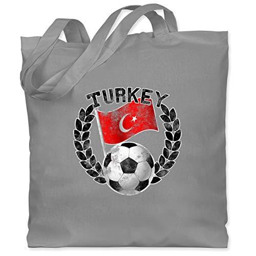 Shirtracer Fußball-Europameisterschaft 2020 - Turkey Flagge & Fußball Vintage - Unisize - Hellgrau - WM101 - Stoffbeutel aus Baumwolle Jutebeutel lange Henkel