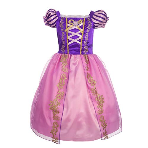 Lito Angels Ragazza Principessa Rapunzel Costume Abiti da Principessa Ragazza Vestito da Festa Fantasia Taglia 4 Anni