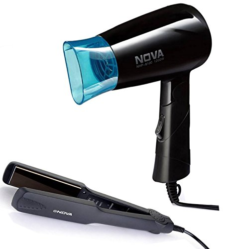 Nova Miss Freshers Combo Kit, Hair Straightener and Hair Dryer (NHS-860 &...