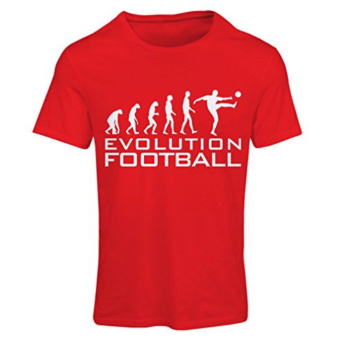 lepni.me Camiseta Mujer La evolución del fútbol - Camiseta de fanático del Equipo de fútbol de la Copa Mundial (X-Large Rojo Blanco)