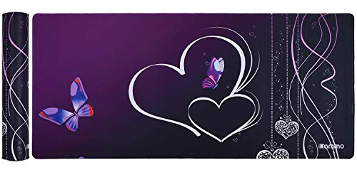 iKammo Large Desk Pad Extended Gaming Mouse Pad Big Cute Purple Butterfly Mouse Pad for Girls Women-Non-Slip Rubber Base Sticthed Edge Mousepad (35'x15.55'x0.08')-Purple Butterfly