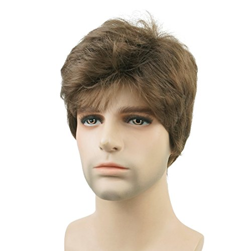 Lydell Men Wig Natural Short Straight Hair Synthetic Full Wigs