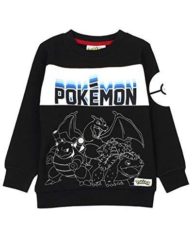 Pokemon Sudadera negra para niño con diseño de pokeball de neón y manga larga