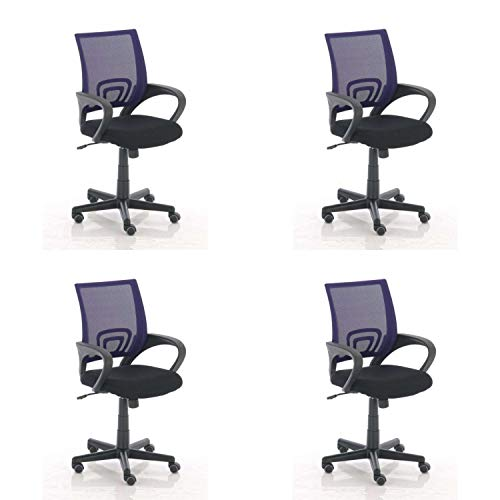 Multistore 2002 Genius - Silla giratoria de oficina (4 unidades), color morado