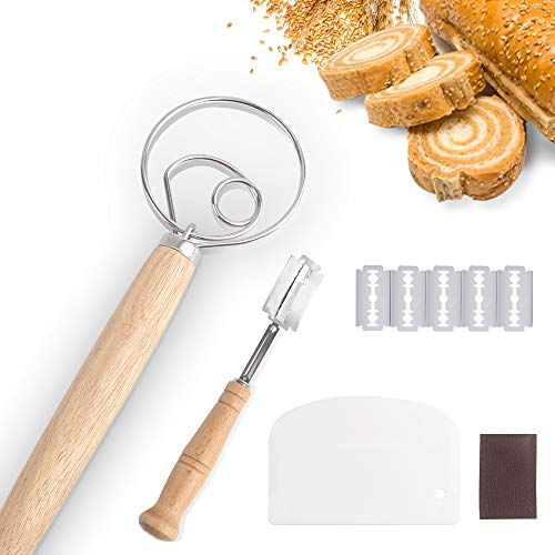Large Danish Dough Whisk for Cooking,Stainless Steel Whisk Mixer Bread Knife Scraper Tool,Bakers Razor With 5 Blades,Kitchen Homemade Premium Lame Tools For Beginner Baking Cooking