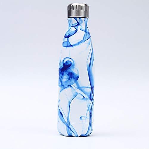 LIANGANAN Mármol Botella de Agua Aislado Fresco de la Botella Taza de café de Termo Gimnasio Acero Inoxidable del Deporte Botella de Bebida, N, 500 ml zhuang94 (Color : H, Size : 500ml)