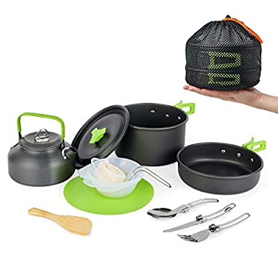 MEETSUN Camping Cookware Portable Outside Camping Cooking Set Mess Kit 12 Piece Cookset with Flat-Bottomed Non-Stick Pot Kettle Camping Pot Chopping Board Folding Tableware for Camping Hiking Picnic