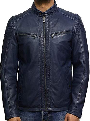 Fashionly Mens Leather Jacket Biker Cafe Racer Genuine