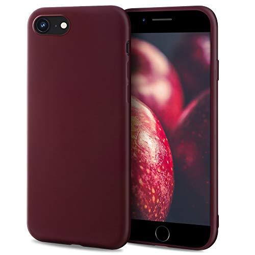 Moozy Minimalist Series Funda Silicona para iPhone SE 2020, iPhone 8 y iPhone 7, Vino Rojo con Acabado Mate, Cover Carcasa de TPU Suave y Fina