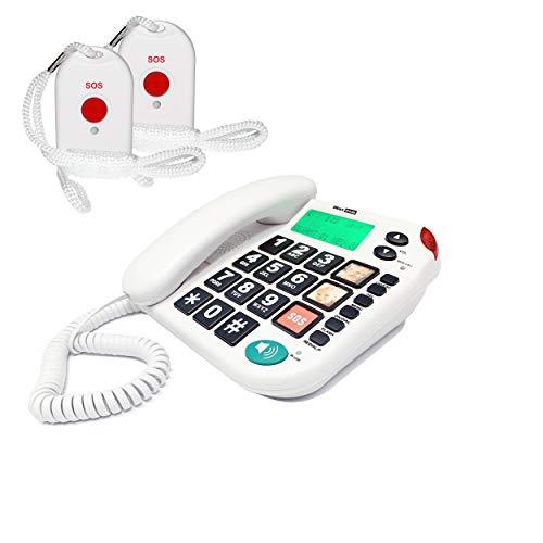 MAXCOM KXT481SOS (G-TELWARE) Teléfono de emergencia para el hogar con emisor inalámbrico SOS, teléfono fijo con 2 transmisores para el cuello, teclas grandes, conector TAE, compatible con audífonos