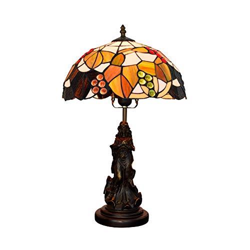 ZAAQ Tiffany-Stil Tischlampe amerikanische braune Traube geeignet für Wohnzimmer Esszimmer Nachttisch Bar Glasmalerei Schönheit Engel Statue