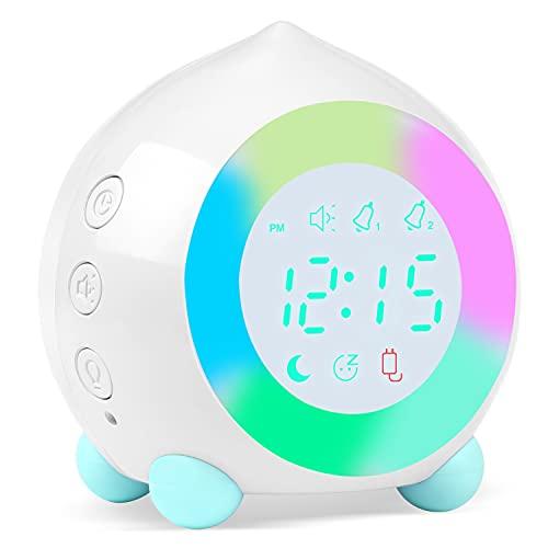 Reloj Despertador Infantil Digital, Despertador Digital Simulador de Amanecer Despertador para Niñas Niños con Luces Colores y Lámpara de Luz Nocturna Despertador Silencioso (Blanco-2)
