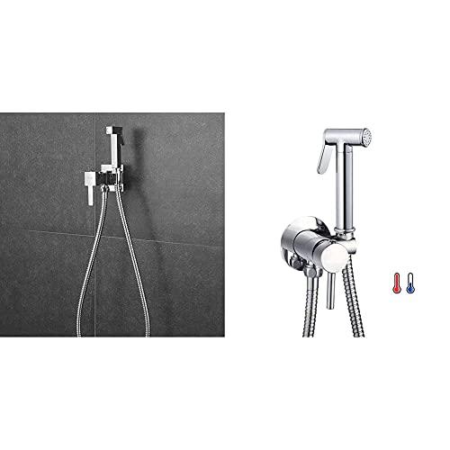 Kibath 469251 Grifo Wc Bidet Higiene Íntima Para Agua Fría Y Caliente Diseño Cuadrado. Fabricado En Latón + 1151414 Grifo Para El Wc Con Ducha De Mano, Higiene Íntima Para Sustitución Del Bidet
