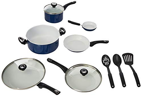 Farberware Ceramic Dishwasher Safe Nonstick Cookware Pots and Pans Set, 12 Piece, Blue