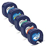 P PUTY Compatible Label Tape Replacement for Dymo letratag Refills 91331 12mm Label Tape 5 Colors Combo Set Thermal Plastic Label Tape 1/2' x 13' LT-100H Plus (12mmx4m)
