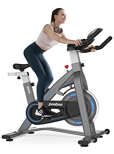 pooboo Exercise Bikes Stationary - Indoor Cycling Bike Magnetic Exercise Bike with Quiet Belt Drive and LCD Monitor, Fitness Bike for Home Cardio