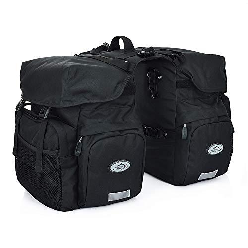 TCKGOOL Fahrrad Gepäcktaschen, 50L Gepäckträger Tasche Reißfest Groß Fahrradtaschen mit Regen-Abdeckung MTB Mountain Bike Sitz Trunk Bag (Schwarz)