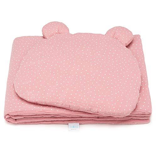EliMeli Babydecke und Babykissen Set - aus 100% Musselin Baumwolle - Kinder Baby Decke mit Kopfkissen für Mädchen und Junge - Kuscheldecke mit Kinderkissen für Kinderwagen oder Bett - Rosa