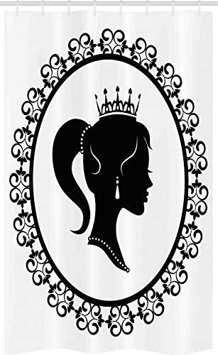 ABAKUHAUS Koningin Douchegordijn, Profiel in Frame Noble, voor Douchecabine Stoffen Badkamer Decoratie Set met Ophangringen, 120 x 180 cm, Zwart en wit