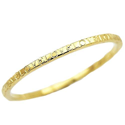 18金 ピンキーリング 極細 華奢リング ファランジリング ミディリング にも キラキラ文字刻印タイプ 18金指輪 1mmリング 指輪 ゴールドリング (イエローゴールド, 11)