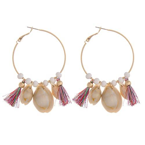 Tata Gisèle - Pendientes de aro con detalles de perlas, cuentas y conchas