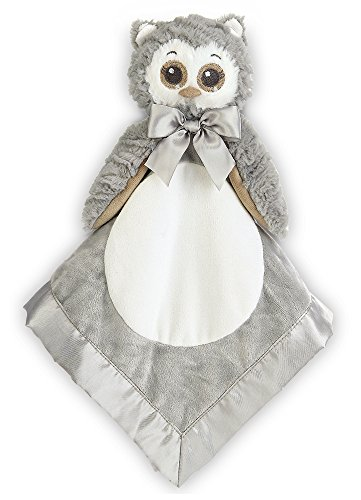 Bearington Baby Lil' Owlie Snuggler, Gray Owl Plush Stuffed Animal Security Blanket, Lovey 15""