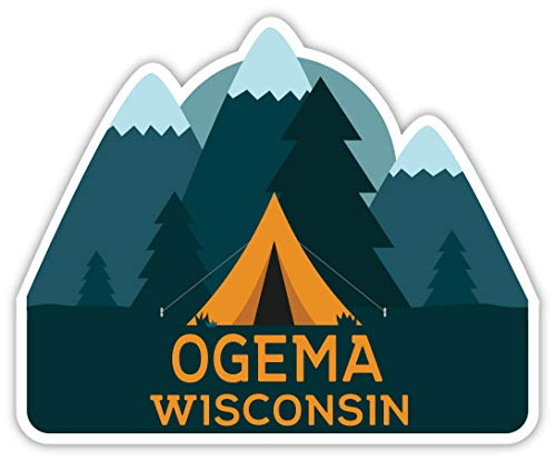 Ogema Wisconsin Souvenir 2-Inch Vinyl Decal Sticker Camping Tent Design