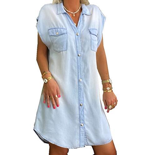 SINNODA Sommarklänningar dam jeansklänning V-ringad klänningar sommar kortärmad miniklänning snygg kort fritid sommarklänning för kvinnor, blå, XL