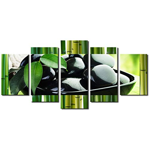 Extra Large Modern Abstract Art Canvas Prints Wall Decor Green Asian Bamboo Zen Stone Still Life Print Painting Picture Artwork for Kitchen