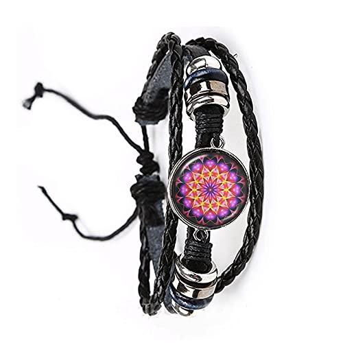 Pulsera de cabujón de cristal Mandala Lotus Om símbolo budismo Zen Henna Yoga brazalete ajustable joyería para hombres y mujeres