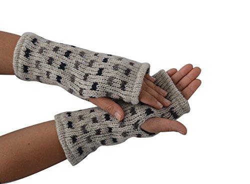 TATTOPANI Donna lane scaldino, fleece lined multicolore dot inverno mano scaldino guanti (GJ-HW-1047WHT)