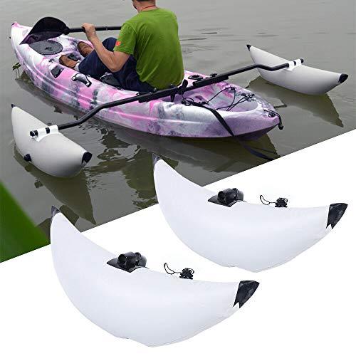 WINUS Fishing Boat Stabilizer, Inflatable 2 White PVC Kayak Canoe Boat Fishing Outrigger Stabilizer & AMA Kit Canoe Fishing Boat Standing Float Stabilizer System