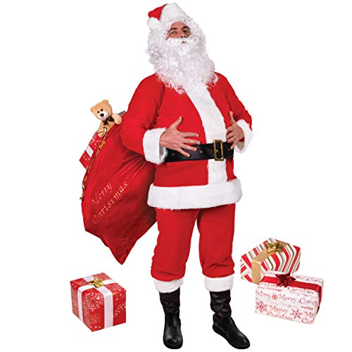 Narwhal Novelties Deluxe Flannel 8Pc Santa Suit, Santa Claus Costume and Wig, Beard, Boots, Belt, Santa Hat; STD (X-Large (50-56)) Red