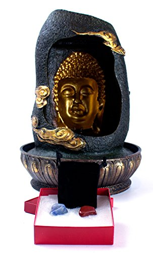 Imprints Plus Buddha Head Water Fountain with LED Light Includes 2 Tumbled Stones and Velvet Bag-27369