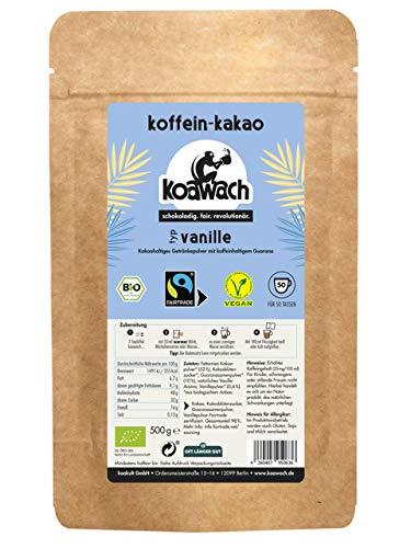 koawach Vanille Kakaopulver Trinkschokolade – Koffein Kakao Guarana Vegan heiße Schokolade Getränk Vanille weniger Zucker Kokosblütenzucker Energy Drink Backkakao Bio Fairtrade (500g)
