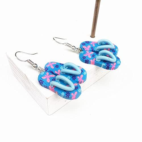 XCWXM Pendientes de Resina, Zapatillas de Vacaciones, Hermosa y Linda Chica, Pendientes Colgantes, Pendientes Bohemios, Azul