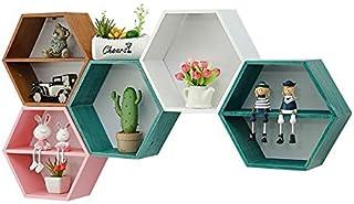 Étagère Style nordique décor en bois Montage mural Hexagonal Cadre TOYS Pot de fleurs étagère de rangement Porte Figurines...