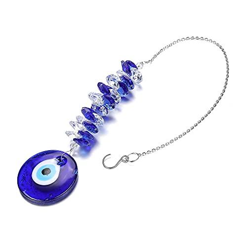 Jovivi Decorazione da Appendere Occhio Blu Turco in Vetro Cristallo Grande Acchiappasole da Parete
