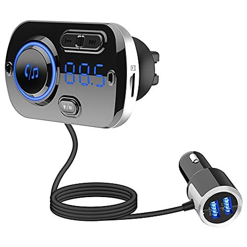 Transmisor FM Bluetooth para coche, adaptador inalámbrico Bluetooth 5.0 de radio de coche con QC3.0 y 5V/2.4A puerto de carga doble, fácil de conectar a la ventilación de aire, mejor kit de coche manos libres, reproductor de música