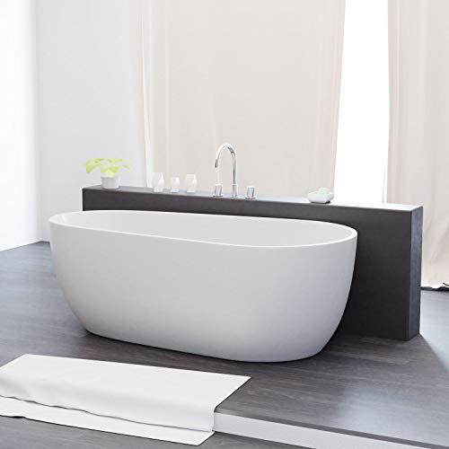 Tronitechnik Freistehende Badewanne Dia 170cm x 80cm x 58cm Wanne aus Acryl mit Siphon/Ablaufgarnitur in weiß Luxus Badewanne im Nostalgielook